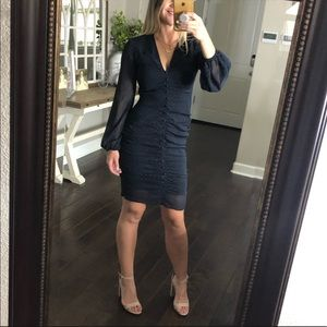 Leith navy long sleeve ruched dress